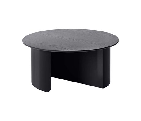 FÉST Coffee table Plateau black wood metal Ø72x32cm