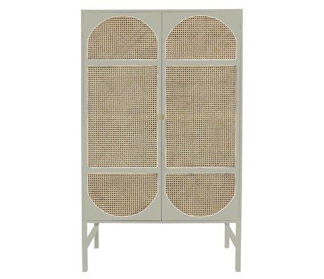 HK-living Cabinet Retro Webbing light gray wood cane 125x40x200cm
