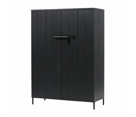 LEF collections Cabinet Bruut black pine 100x41,5x140,5cm