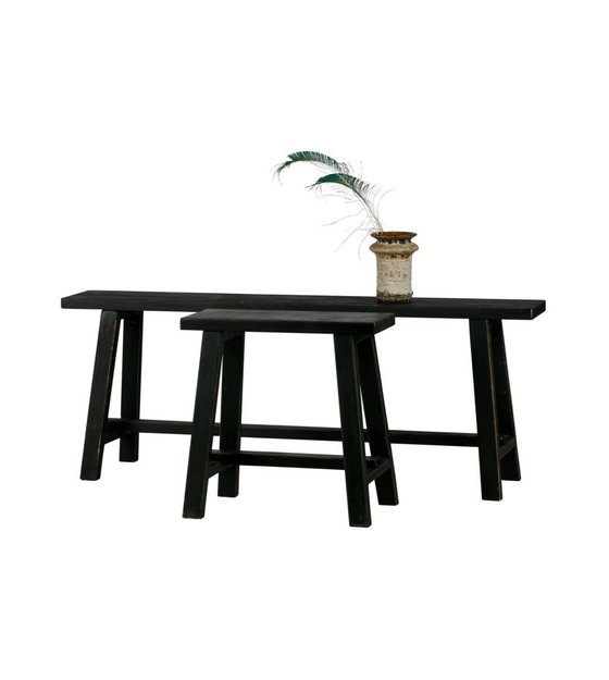 lef collections bankje mara vintage zwart hout 129,5x29,5x49,5cm