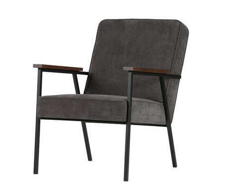 LEF collections Fauteuil Sally antraciet grijs rib stof  60x73x70cm