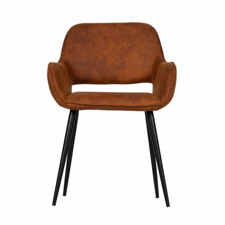 LEF collections Dining chair with cutout cognac brown PU leather set of 2