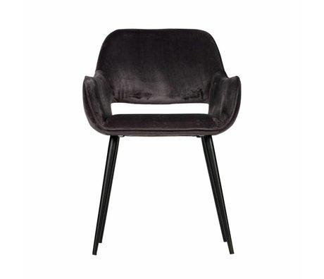 LEF collections Esszimmerstuhl mit Ausschnitt aus grauem Samt, 2er Set