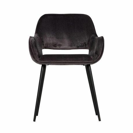 LEF collections Chaise de salle à manger avec découpe en velours gris