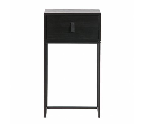 LEF collections Nightstand Zola black wood metal 40x35x74cm