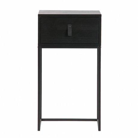 LEF collections Nachtkastje Zola zwart hout metaal 40x35x74cm