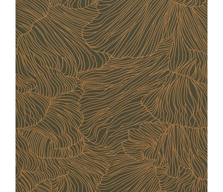 Ferm Living Wallpaper Coral dark green gold 53x1000cm with batch number 1
