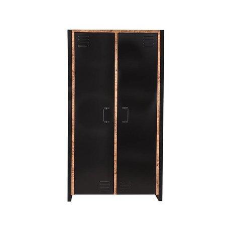 LEF collections Kast Brussels bruin zwart mangohout metaal 2-deurs 100x45x180cm