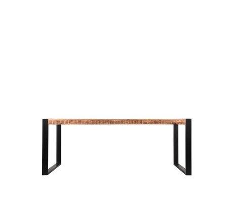 Label51 Table à manger Bruxelles brun manguier noir 180x90x76cm