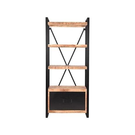 LEF collections Boekenkast Brussels met lade bruin zwart mangohout metaal 80x45x185cm
