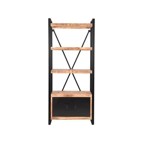 LEF collections Bookcase Brussels with drawer brown black mango wood metal 80x45x185cm