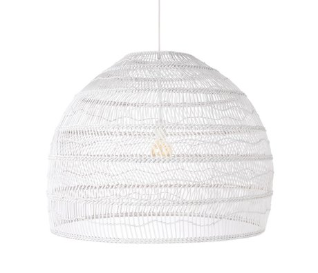 HK-living Hanging lamp handwoven white reed L Ø80x60cm