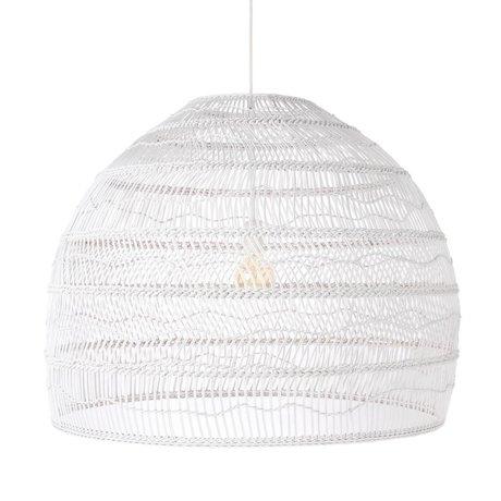 HK-living Lampe suspendue tissée à la main, anche blanche L Ø80x60cm