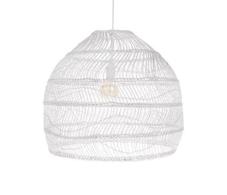 HK-living Hängelampe Ball handgewebtes weißes Schilfrohr M Ø60x50cm