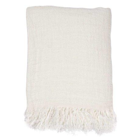 HK-living Bedspread white linen 270x270cm