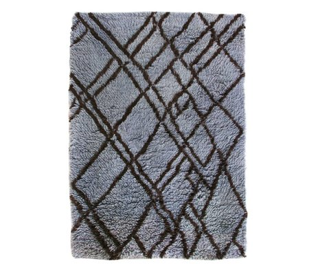 HK-living Carpet Berber blue gray wool 180x280cm