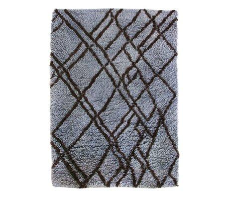HK-living Vloerkleed Berber blauw grijs wol 180x280cm
