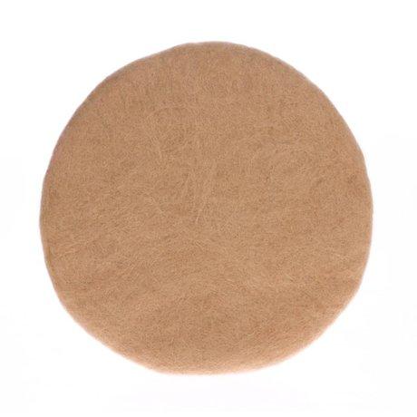 HK-living Throw pillow chair camel brown felt Ø35x4cm