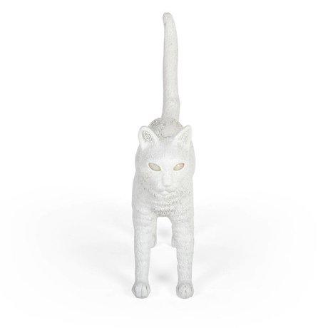 Seletti Lampe de table Cat Jobby en résine blanche 46x12x20,7cm