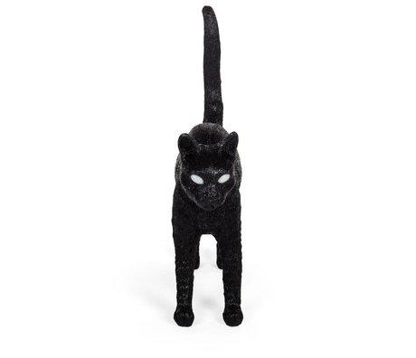 Seletti Tischleuchte Cat Jobby schwarzes Kunstharz 46x12x20,7cm