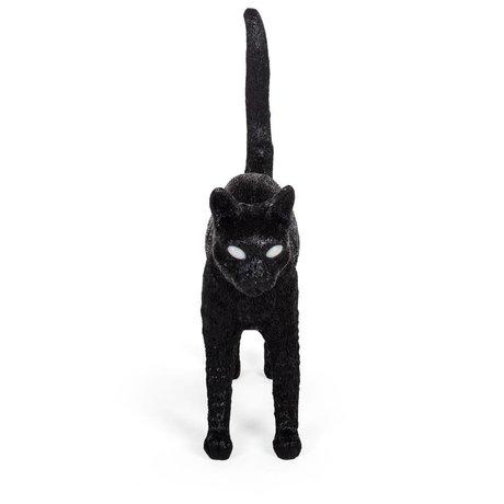 Seletti Lampe de table Cat Jobby en résine noire 46x12x20,7cm