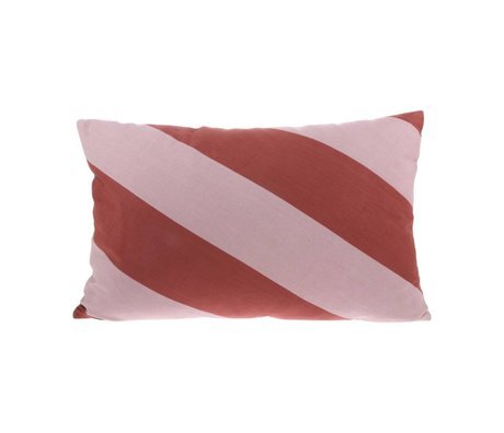 HK-living Throw pillow Striped pink red cotton 60x40cm