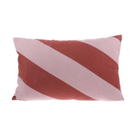 HK-living Cushion Striped pink red cotton 60x40cm