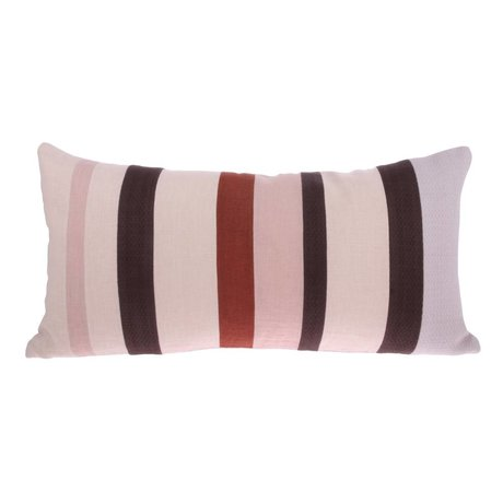 HK-living Wurfkissen Striped D rosa lila rotes Leinen 70x35cm