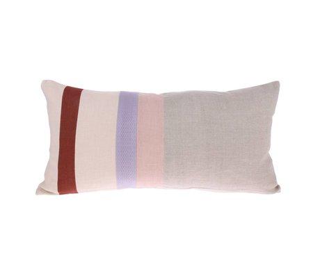 HK-living Sierkussen Striped B grijs multicolour linnen 70x35cm