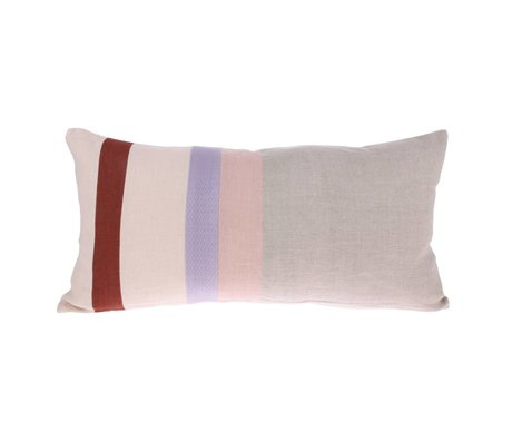 HK-living Throw pillow Striped B gray multicolour linen 70x35cm