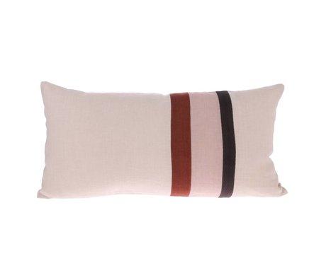 HK-living Cushion Striped A pink multicolour linen 70x35cm