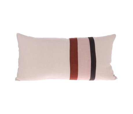 HK-living Throw pillow Striped A pink multicolored linen 70x35cm