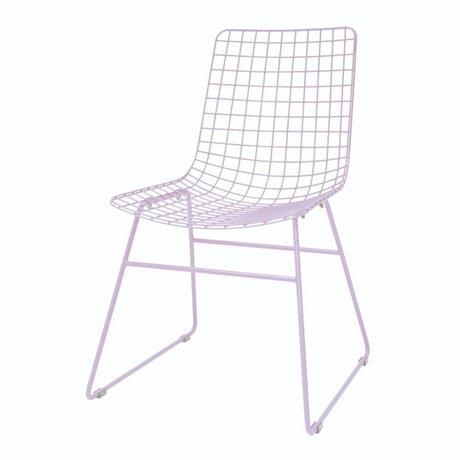 HK-living Eetkamerstoel Wire lila metaal 47x54x86cm