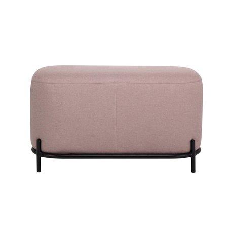 HK-living Pouf vieux textile rose acier 80x40x45cm