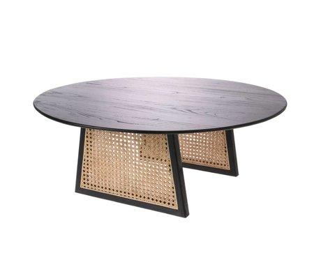 HK-living Coffee table Webbing black brown rattan wood L Ø80x30cm