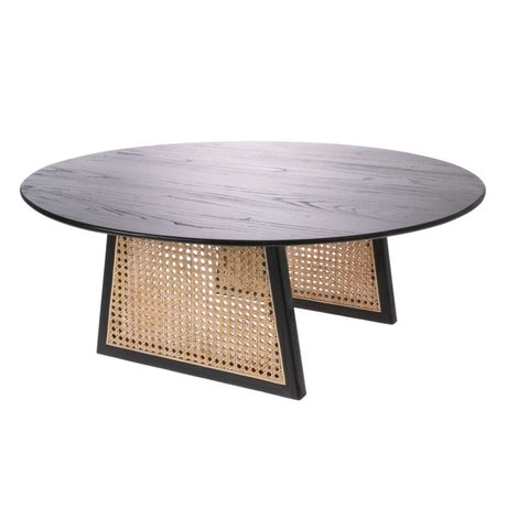 HK-living Table basse en sangle rotin bois brun noir L Ø80x30cm