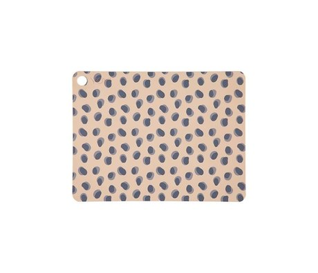 OYOY Set de table Leopard à pois camel brun silicone 45x34x0.15cm lot de 2