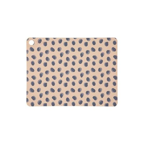 OYOY Placemat Leopard dots camel bruin siliconen 45x34x0,15cm set van 2