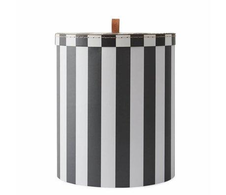OYOY Boîte de rangement Rangement grand carton blanc gris Ø28x32cm