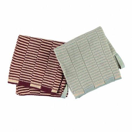 OYOY Dish cloth Stringa aubergine pink + blue camel cotton set of 2 - 25x25cm