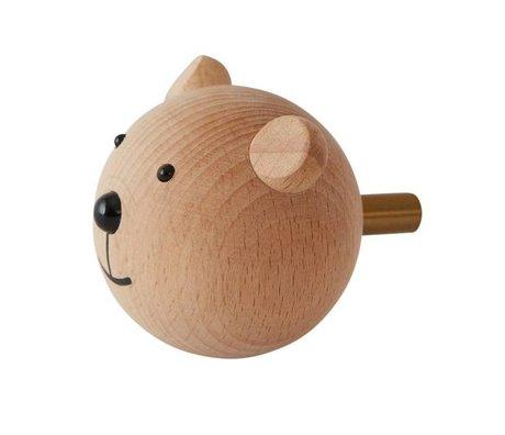 OYOY Wandhaakje Bear naturel hout ø4,5x6x4,5cm
