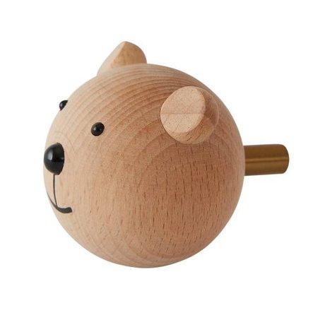 OYOY Wall hook Bear natural wood 4,5x6x4,5cm