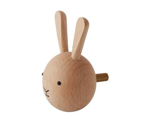 OYOY Wall hook Rabbit natural wood 4,5x6x4,5cm