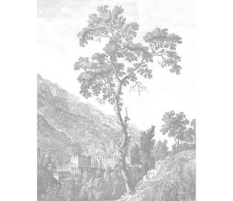 KEK Amsterdam Tapetentafel Gravierter Baum Schwarzweiß-Vlies-Tapete 142,5 x 180 cm