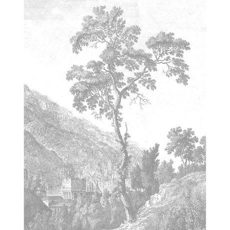 KEK Amsterdam Behangpaneel Engraved Tree zwart wit vliesbehang 142,5x180cm