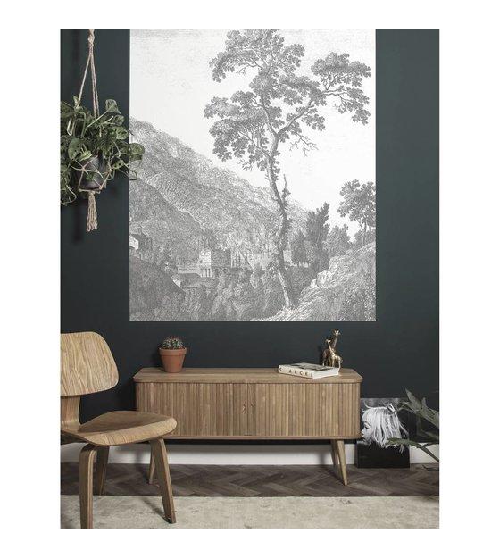 Kek Amsterdam Wallpaper Panel Engraved Tree Black And White Non Woven Wallpaper 142 5x180cm