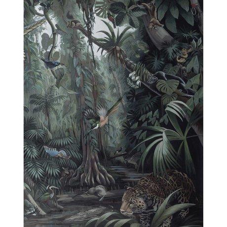 KEK Amsterdam Behangpaneel Tropical Landscape groen vliesbehang 142,5x180cm