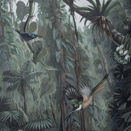 KEK Amsterdam Panneau de papier peint papier peint tropical paysage vert non tissé 142,5x180cm