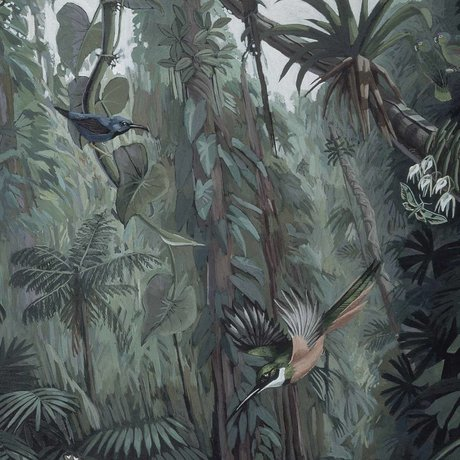 KEK Amsterdam Tropical Landscape Tapete Panel grün Vliestapete 142,5x180cm