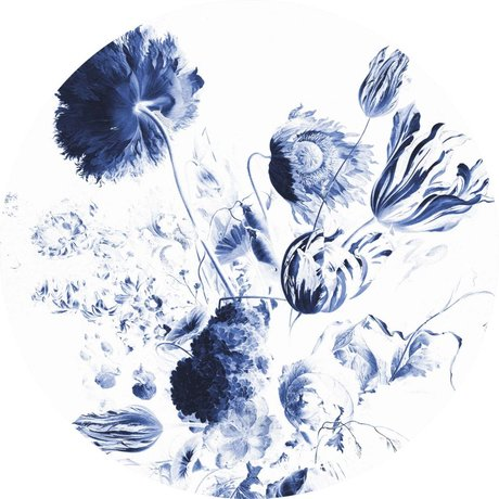 KEK Amsterdam Behang Cirkel Royal Blue Flowers blauw wit vliesbehang ø190cm